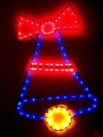 blue and red holiday bell light fixture