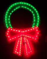 large steel christmas light fixture in the shape of a wreath